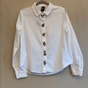 Disney White Button Down w/ Embroidered Character